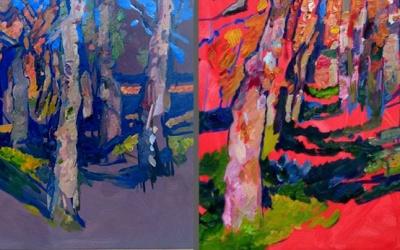 Пейзаж у сонячний день. Дерева в пейзажі – майстер-клас олійного живопису сучасного українського живописця Валентини Кузьмічової.