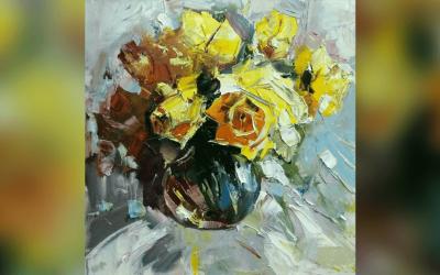 Майстер клас - натюрморт з жовтими трояндами Олега Луньова