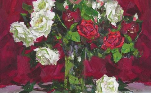 Троянди. Майстер клас олійного живопису.